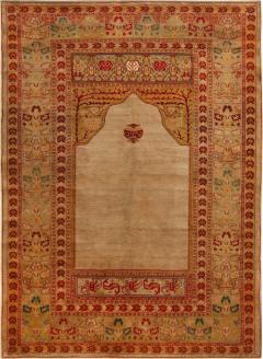 Antique Hereke Gold Beige and Red Floral Silk Rug - 1161295