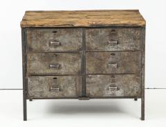 Antique Industrial Metal Chest of Drawers with Chunky Wood Top c 1900  - 1223975