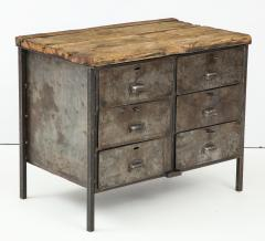 Antique Industrial Metal Chest of Drawers with Chunky Wood Top c 1900  - 1223976