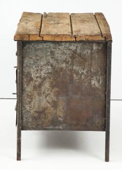 Antique Industrial Metal Chest of Drawers with Chunky Wood Top c 1900  - 1223977