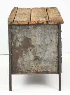 Antique Industrial Metal Chest of Drawers with Chunky Wood Top c 1900  - 1223978