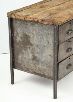Antique Industrial Metal Chest of Drawers with Chunky Wood Top c 1900  - 1223980