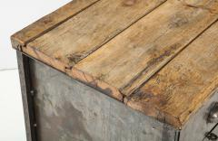 Antique Industrial Metal Chest of Drawers with Chunky Wood Top c 1900  - 1223981