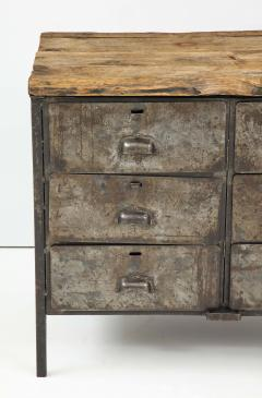 Antique Industrial Metal Chest of Drawers with Chunky Wood Top c 1900  - 1223985