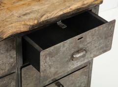Antique Industrial Metal Chest of Drawers with Chunky Wood Top c 1900  - 1224001
