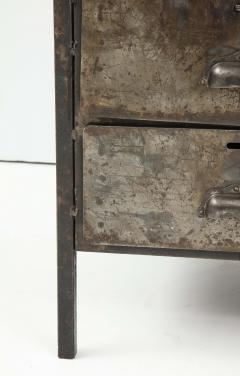 Antique Industrial Metal Chest of Drawers with Chunky Wood Top c 1900  - 1224002