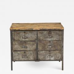 Antique Industrial Metal Chest of Drawers with Chunky Wood Top c 1900  - 1225562