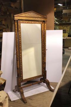 Antique Inlaid Wood Floor Mirror - 689348