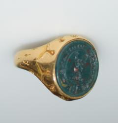 Antique Intaglio Signet Ring Blood Stone and Gold - 1124222