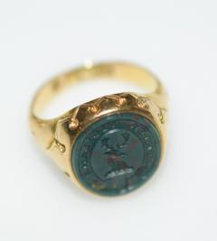 Antique Intaglio Signet Ring Blood Stone and Gold - 1124235