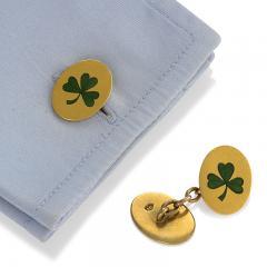 Antique Irish Double Sided Gold and Enamel Shamrock Cuff Links - 717385
