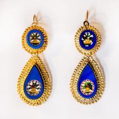 Antique Italian Micro Mosaic Earrings 18k Gold Italy - 150379