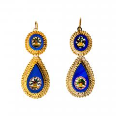 Antique Italian Micro Mosaic Earrings 18k Gold Italy - 150890