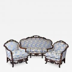 Antique Italian Walnut Carved Three Piece Suite of Sofa Two Armchairs - 167712