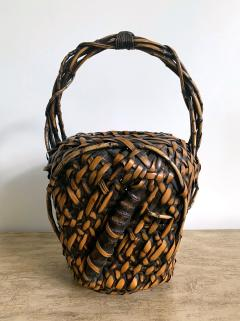 Antique Japanese Bamboo Ikebana Basket of Mingei Style - 1476708
