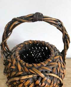 Antique Japanese Bamboo Ikebana Basket of Mingei Style - 1476713