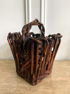 Antique Japanese Bamboo Ikebana Basket with Signature - 1476720