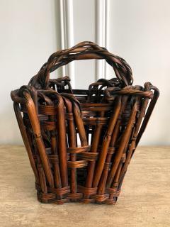 Antique Japanese Bamboo Ikebana Basket with Signature - 1476721