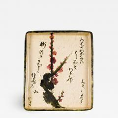 Antique Japanese Ceramic Tray with Plum and Calligraphy Design - 1369331