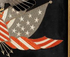 Antique Japanese Export Silk Embroidery Americana Patriotic Panel - 2160425
