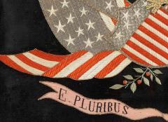 Antique Japanese Export Silk Embroidery Americana Patriotic Panel - 2160426