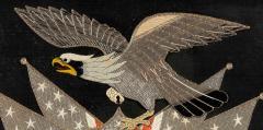 Antique Japanese Export Silk Embroidery Americana Patriotic Panel - 2160428