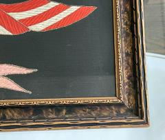 Antique Japanese Export Silk Embroidery Americana Patriotic Panel - 2160429