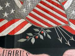 Antique Japanese Export Silk Embroidery Americana Patriotic Panel - 2160430