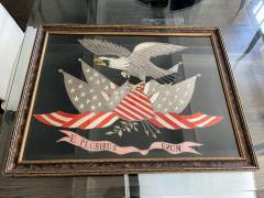 Antique Japanese Export Silk Embroidery Americana Patriotic Panel - 2160431