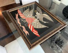 Antique Japanese Export Silk Embroidery Americana Patriotic Panel - 2160432