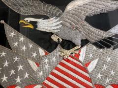 Antique Japanese Export Silk Embroidery Americana Patriotic Panel - 2160433