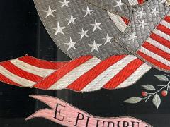 Antique Japanese Export Silk Embroidery Americana Patriotic Panel - 2160434