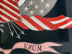 Antique Japanese Export Silk Embroidery Americana Patriotic Panel - 2160435