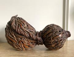 Antique Japanese Gourd Shape Bamboo Ikebana Basket - 1476727