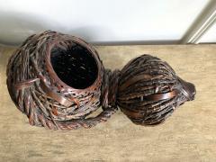 Antique Japanese Gourd Shape Bamboo Ikebana Basket - 1476729