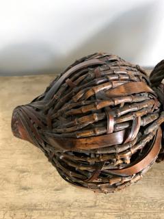 Antique Japanese Gourd Shape Bamboo Ikebana Basket - 1476730