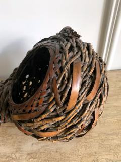Antique Japanese Gourd Shape Bamboo Ikebana Basket - 1476731