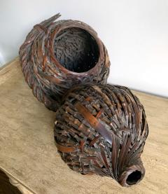 Antique Japanese Gourd Shape Bamboo Ikebana Basket - 1476732