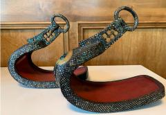 Antique Japanese Iron Stirrups with Abalone Shell Inlays - 1641189