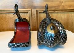 Antique Japanese Iron Stirrups with Abalone Shell Inlays - 1641190