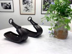 Antique Japanese Iron Stirrups with Silver Inlay - 1124638