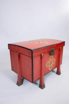 Antique Japanese Red Lacquer Armor Box - 937762