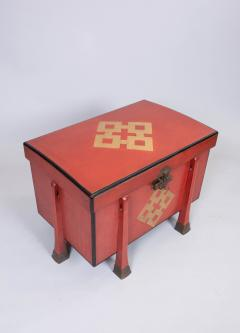 Antique Japanese Red Lacquer Armor Box - 937763