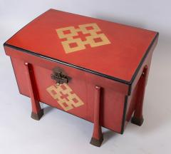 Antique Japanese Red Lacquer Armor Box - 937764