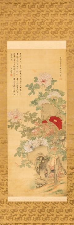 Antique Japanese Scroll of Peonies - 1368652