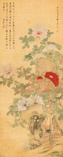 Antique Japanese Scroll of Peonies - 1368654