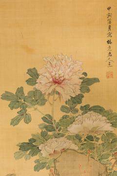 Antique Japanese Scroll of Peonies - 1368661