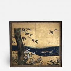 Antique Japanese Two panel Screen byobu  - 1627401