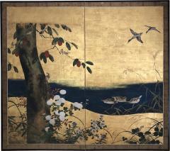Antique Japanese Two panel Screen byobu  - 1627406