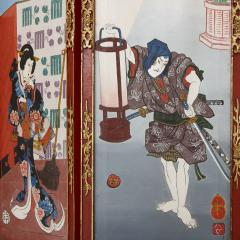Antique Japonisme wooden folding screen with five panels - 1683168